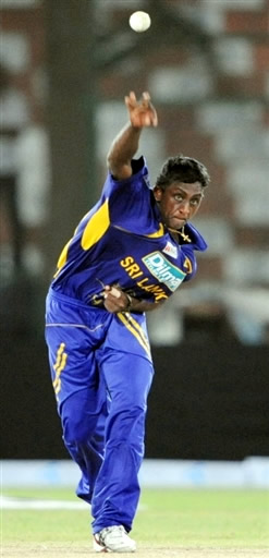 Ajantha Mendis delivers the ball