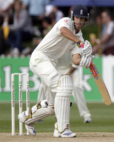 England's Alastair Cook hits a shot against New Zealand