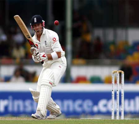 Matthew Prior plays a shot during a test match in Sri Lanka