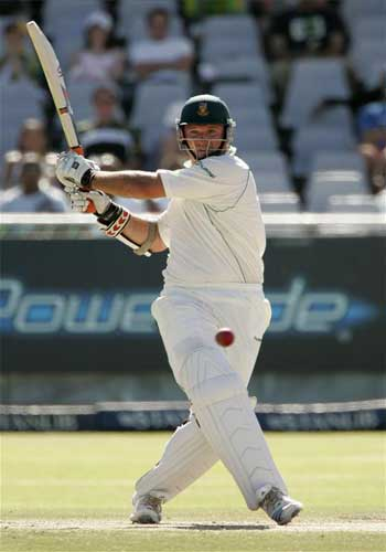 South Africa's Graeme Smith plays a shot