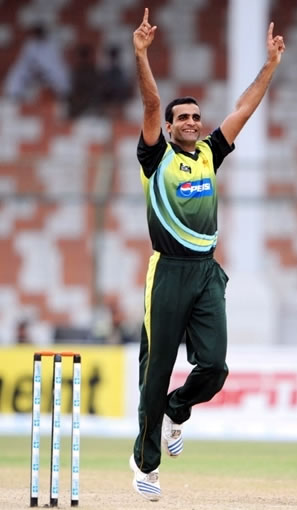 Iftikhar Anjum celebrates the wicket of Mortaza