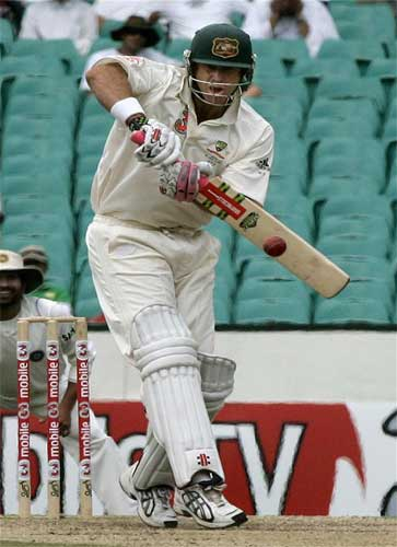 Australia's Matthew Hayden hits the ball for a boundary