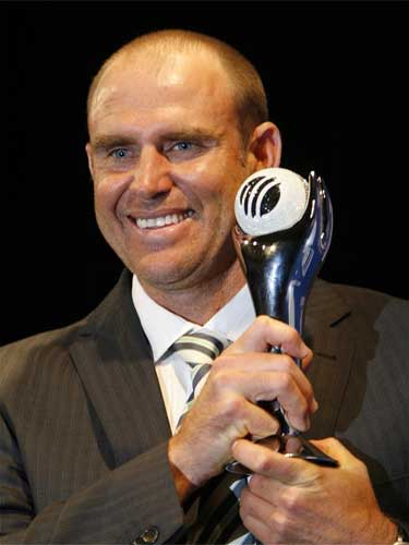 Matthew Hayden holds the trophy after he was named the ODI Player of the Year