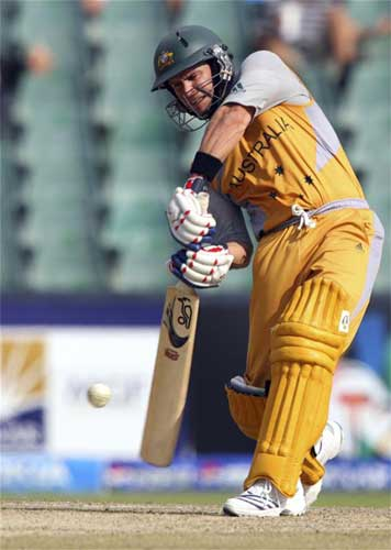 Brad Hodge plays a shot during their ICC World Twenty20