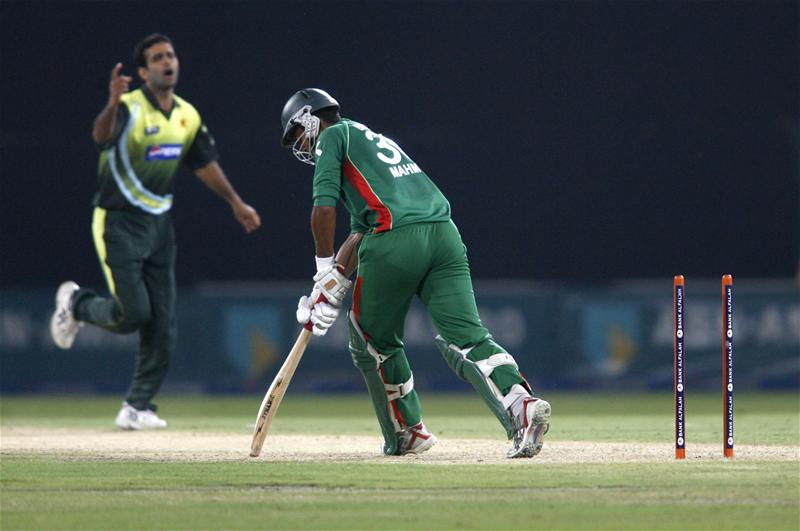 Mahmudullah is bowled during a one day international