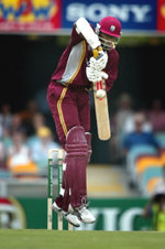 West Indian opener Chris Gayle plays a defensive shot