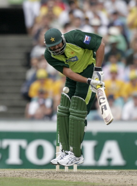Inzamam-ul-Haq is beaten by the ball