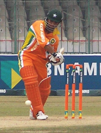 Imran Farhat gets ready to drive a ball