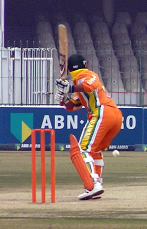Imran Farhat gears up for a drive into the covers