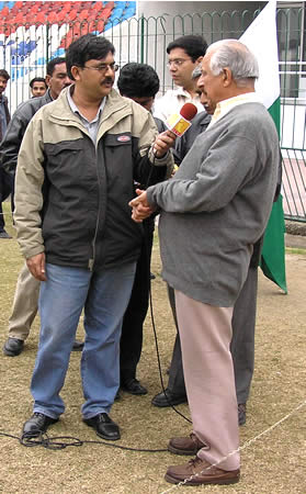 Chairman Shaharyar Khan being interviewed for television