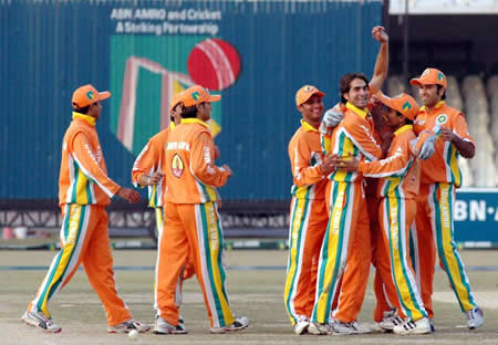 Lahore Lions celebrate a Sialkot Stallions wicket