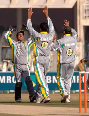 Sialkot Stallions skipper Khalid Mahmood celebrates a wicket with his team-mates