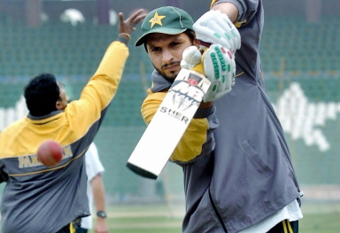 Shahid Afridi during a practice session