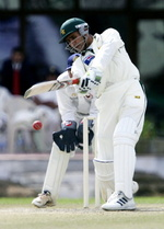 Abdul Razzaq drives during the second day