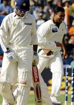 Danish Kaneria celebrates the wicket of Sourav Ganduly for 1