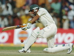 Yasir Hameed plays a shot during the fourth day