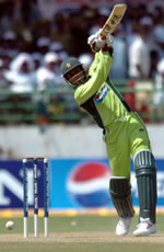 Abdul Razzaq drives for a four on his way to 88
