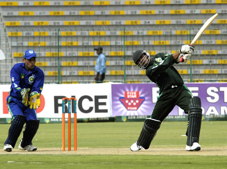 Hasnain Abbas hits a four