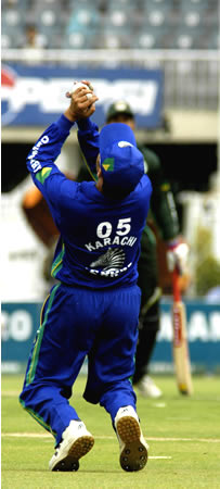 Shadab Kabir takes a catch