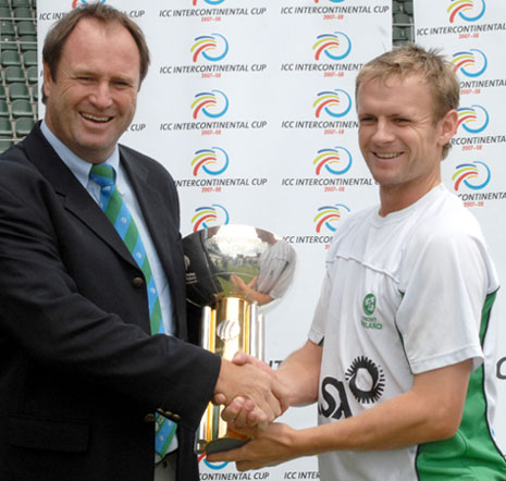 Ireland captain William Porterfield accepts the ICC Intercontinental Cup 2007-08