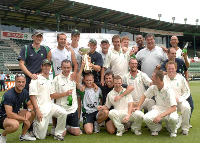 Ireland players celebrate winning the ICC Intercontinental Cup for the third time in a row