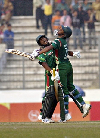 Shakib Al Hasan & Naeem Islam celebrate win over Sri Lanka