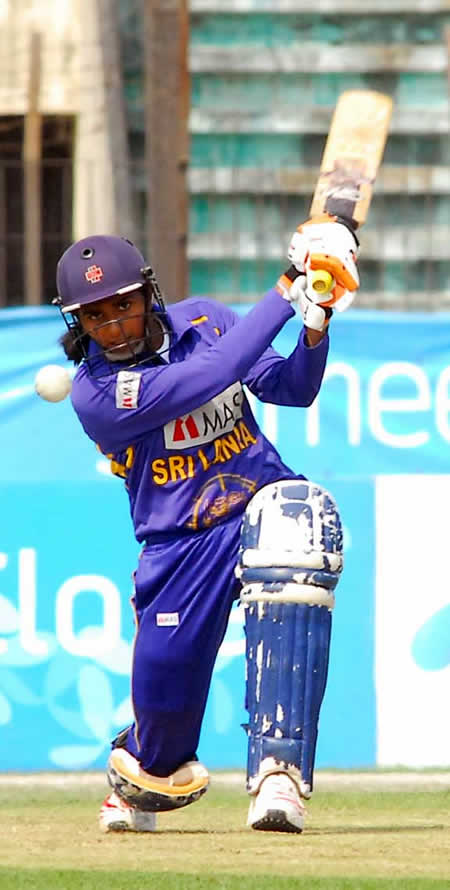 Shashikala Siriwardene plays a shot against Pakistan Women