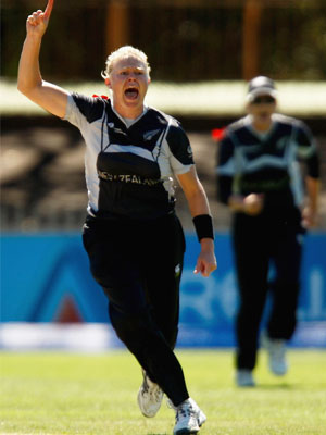 Kate Pulford celebrates after taking the wicket
