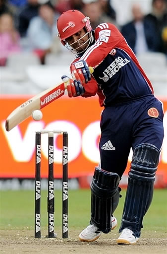 Virender Sehwag plays a shot