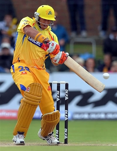 Mathew Hayden plays a shot