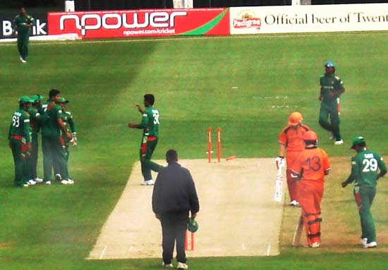 Bangladesh celebrating a wicket