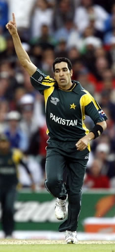 Umar Gul celebrates the wicket of Shah