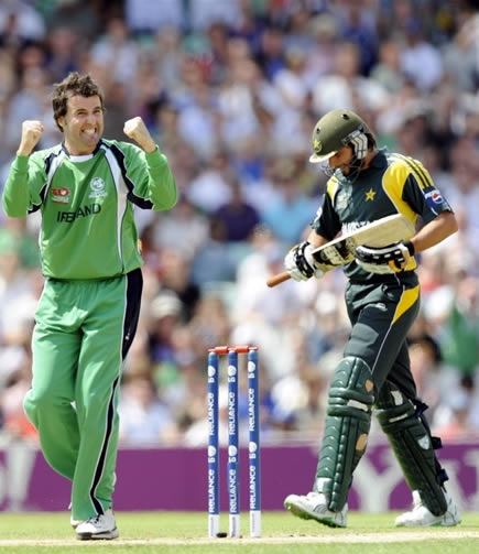 McCallan celebrates the wicket of Afridi