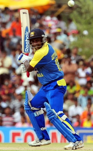 Jayasuriya plays a shot