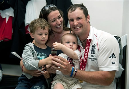 England Captain Andrew Strauss celebrates with his family after winning the Ashes 2009
