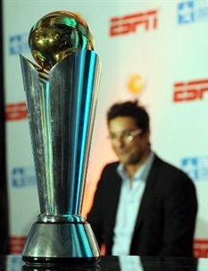 A replica of ICC Champions Trophy on display
