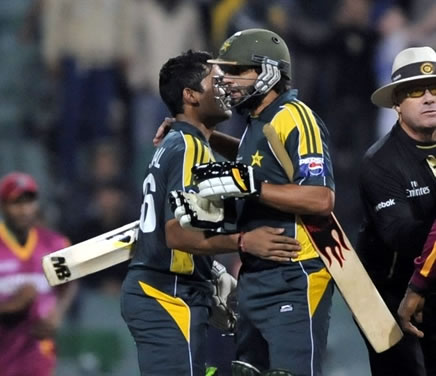 Shahid Afridi and Umar Akmal celebrate win over West Indies