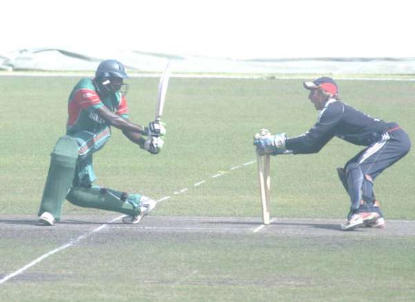 England U19 wicketkeeper Michael Bates almost stumps a Bangladesh batsman