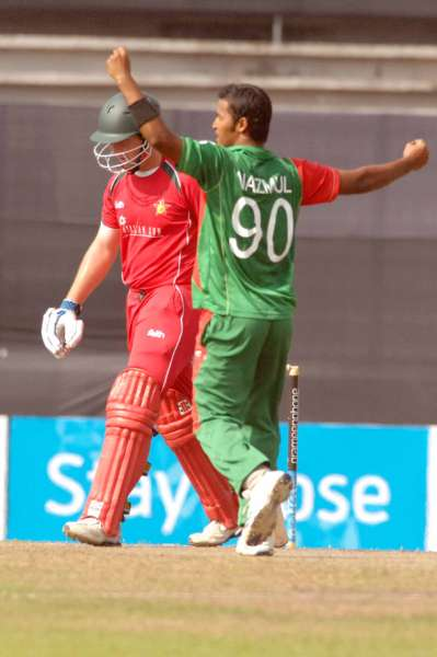 Nazmul Hossain is elated after getting the wicket of Zimbabwe opener Brendon Taylor