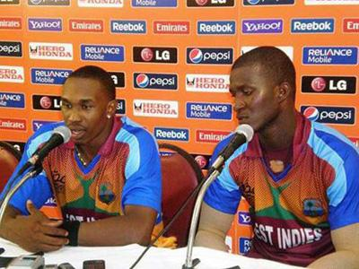 West Indies captain Dwayne Bravo (left) and Darren Sammy