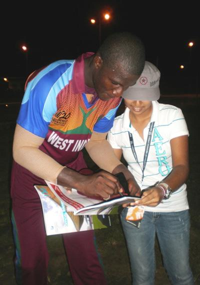 Darren Sammy was in high demand for autographs