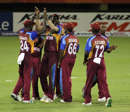 Man of the Match Darren Sammy congratulated