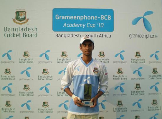 Shaker Ahmed with Man of the Match trophy