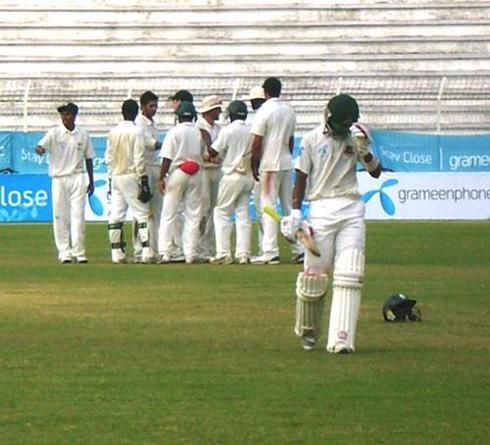 Players cheering after Sabbir Rahman got out