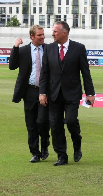 Shane Warne and Ian Botham after pitch report