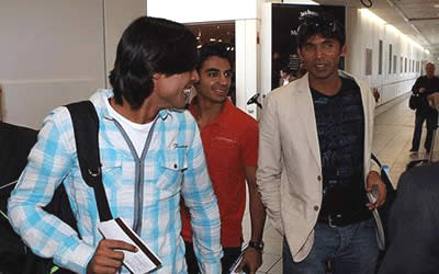 Mohammad Aamer (left), Mohammad Asif and Salman Butt (centre) at Heathrow Airport, London
