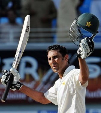 Younis Khan waves after his match-saving century