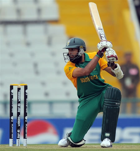 Hashim Amla plays a cover drive