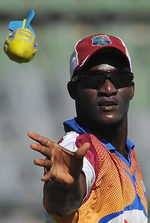 Darren Sammy at a training session ahead of the third Test