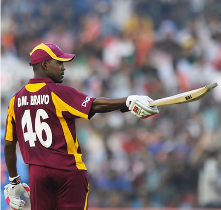 Darren Bravo acknowledges the applause on getting to a half-century
